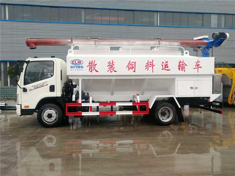 新款藍牌解放J6F12方散裝飼料運輸車多少錢_價格表_圖片