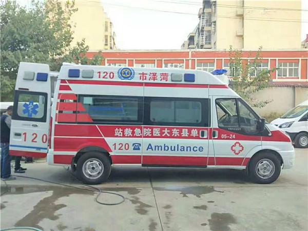 新疆医院定点采购江铃福特V348长轴高顶监护型救护车