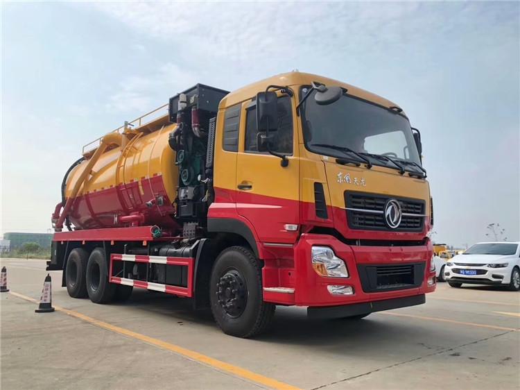 國六東風天龍后雙橋清洗吸污車|價格|配置|圖片