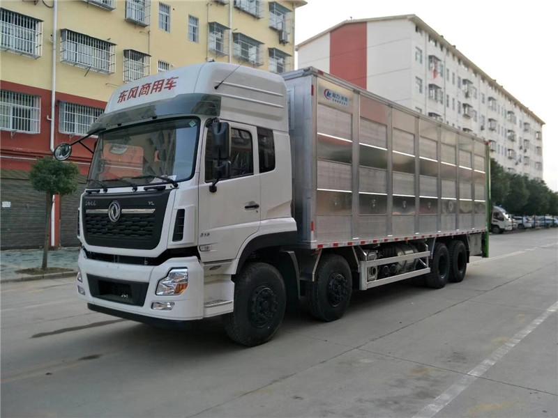 铝合金猪苗运输车价格-东风天龙前四后八9米6全铝合金仔猪运输车价格