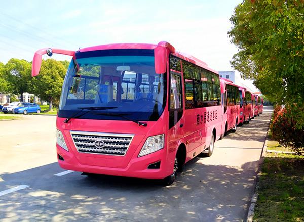 华新牌6米19座小型中级客车发往河南