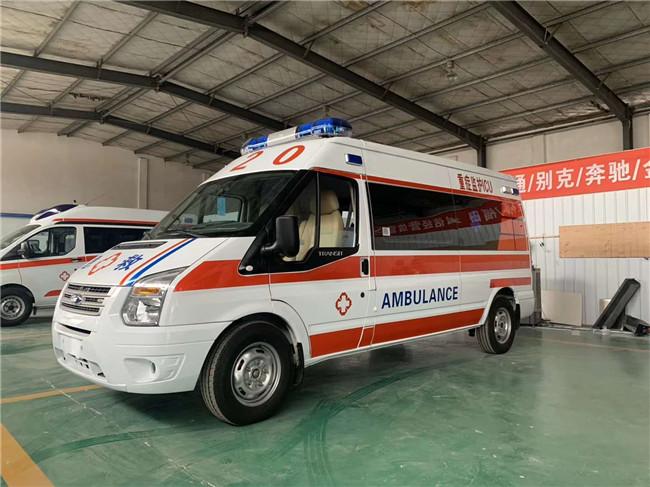 发车记:济南省滦南县中心医院定购福特新世代救护车-v348急救车