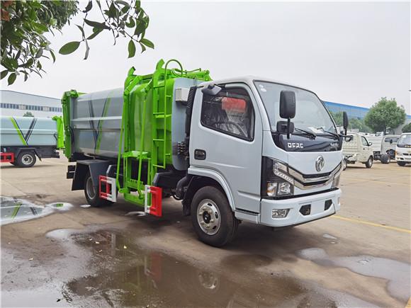 國六東風小多利卡側裝掛桶壓縮垃圾車配置+圖片