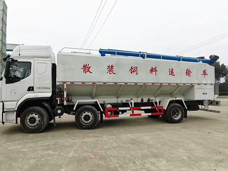 東風天龍飼料運輸車廠價直銷_40方飼料運輸車哪里買_液壓飼料車配置
