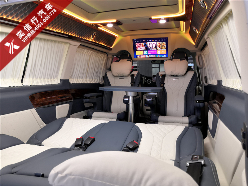 郑州 荥阳 奔驰V级商务车改装高顶内饰多少价格?7座V260房车报价?