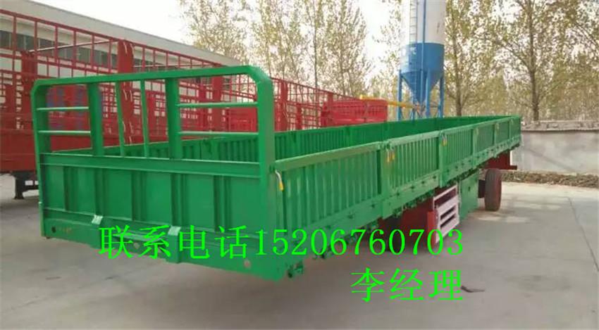 济宁出售定做二手13米平板60公分栏板半挂车二手车