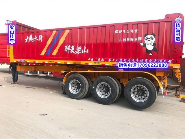 厂家专业生产8.5米11米平板后翻自卸半挂车