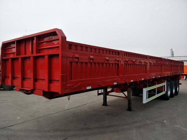 13米标箱侧翻自卸半挂车出厂价格 可加高活装栏板二手车
