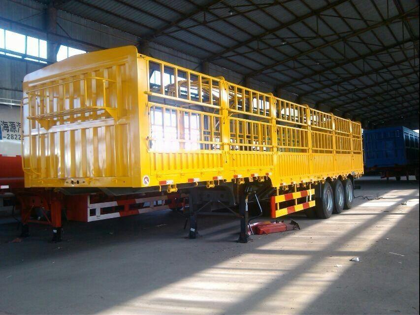 花栏半挂车出厂价格 13米三轴鹅颈式仓栏半挂车二手车