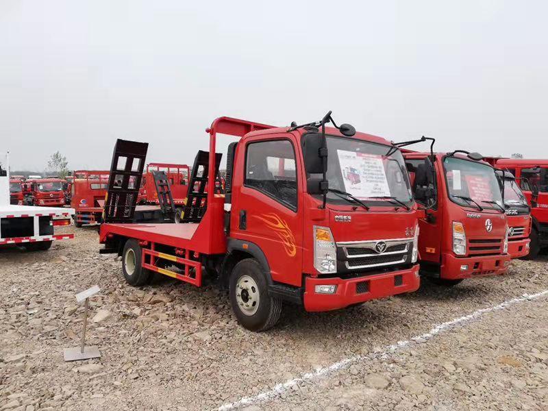 重汽豪曼蓝牌平板车 8吨挖机拖车10吨挖机运输车