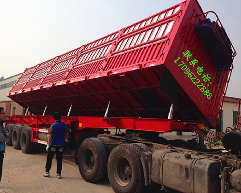 厂家订做11米 13米仓栏式侧翻自卸半挂车 分期付款二手车