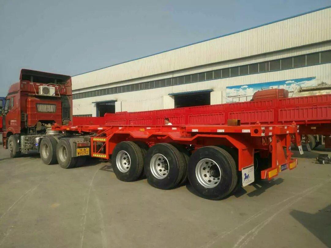 吉林厂家订做20英尺-40英尺集装箱骨架运输车二手车