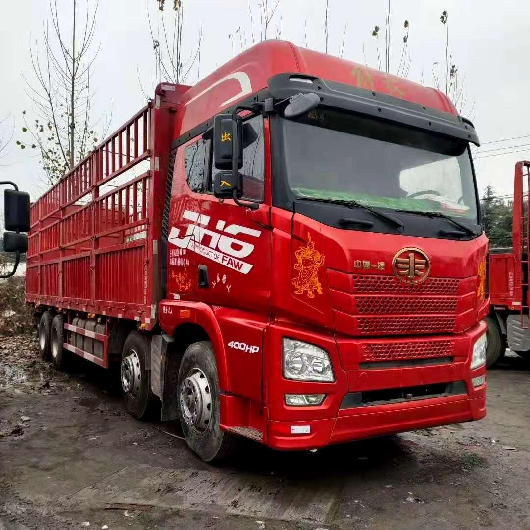 出售二手18年9.6米高栏货车解放 欧曼德龙国五可分期