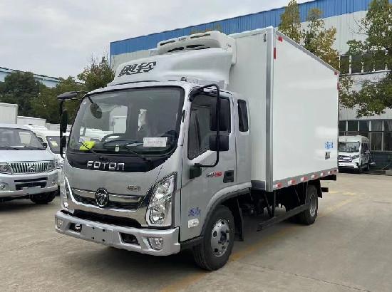 福田奥铃排半3.8米冷藏车国六价格_速运排半厢货冷藏车报价