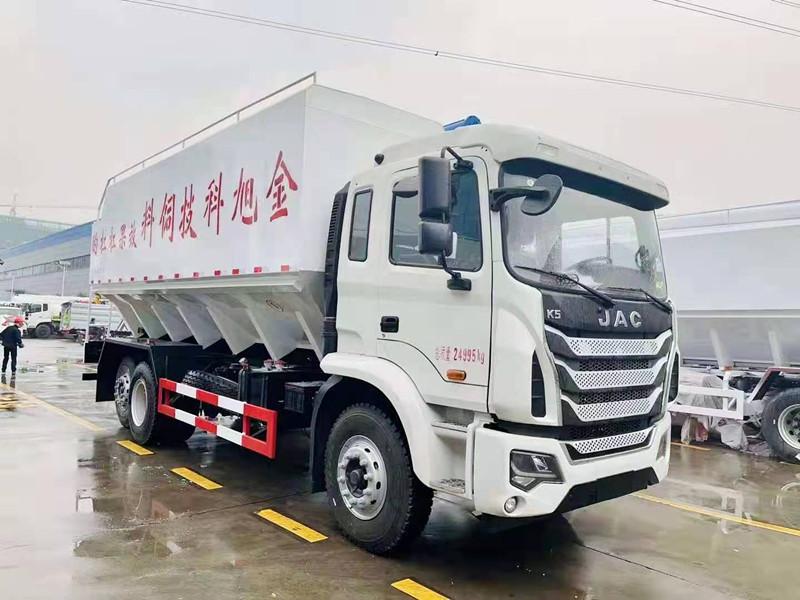 国六江淮6*2铝合金散装饲料运输车降低油耗降低运输成本