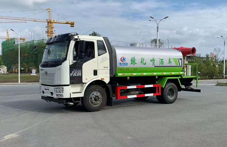 國六解放12噸灑水車帶霧炮