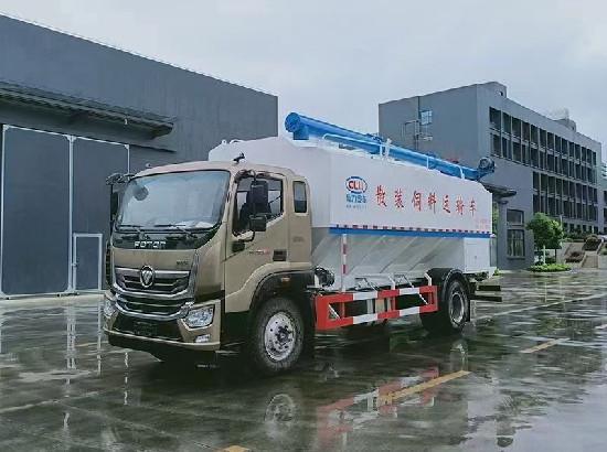 國六福田奧鈴大黃蜂24方散裝飼料車_12噸散裝飼料車廠家報價多少錢一輛