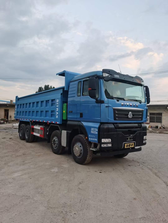 汕德卡540馬力國六7.6米自卸車藍色
