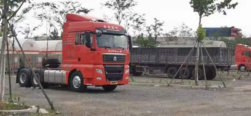 汕德卡480马力曼机国五牵引车法规版桔红色