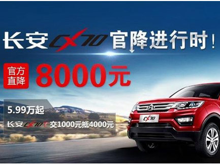 长安CX70全系官降8000,性价比飙升