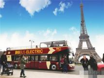 安凯纯电动双层敞篷观光车巴黎投入运营