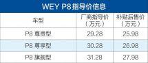 WEYP8正式上市补贴后售25.98-27.98万元/配备插混四驱系统