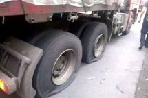绍兴:让人心惊30余辆货车轮胎被戳破