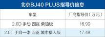 北京BJ40PLUS柴油版/城市猎人版正式上市售16.99-17.48万元