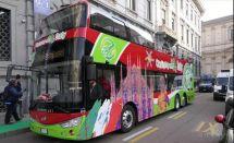 在浪漫古老的意大利街头,可以看见绿色环保的安凯纯电动双层巴士啦~