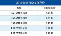 2019款风行SX6正式上市售6.99-9.49万元/配置升级