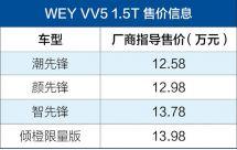 WEYVV51.5T正式上市售12.58-13.98万元