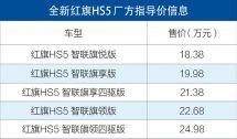 全系配2.0T动力红旗HS5正式上市售价18.38万-24.98万