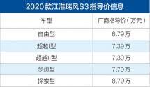 2020款江淮瑞风S3正式上市售价6.79-8.79万元/满足国六排放