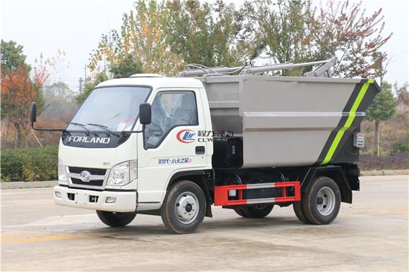 蓝牌3方自装卸垃圾车——福田小卡3方后装湿垃圾转运车