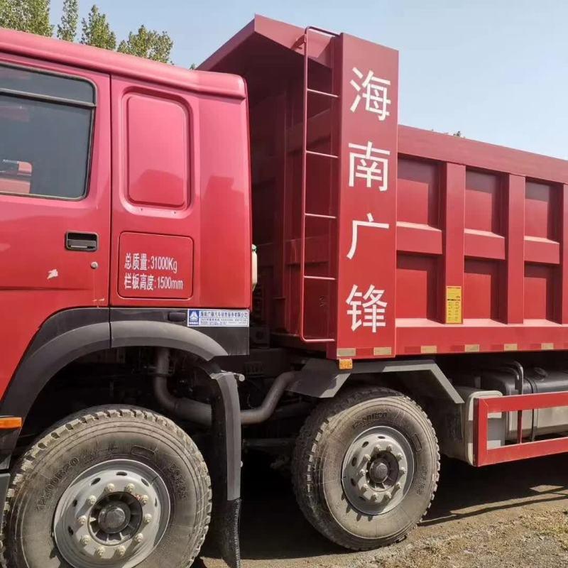 重汽豪沃8.2米自卸車海沃油缸火紅色